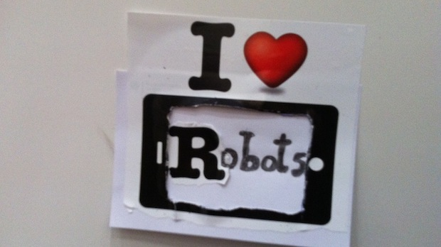 Ein Herz für Roboter - eine kleine Liebeserklärung findet sich an unserer Umkleidekabine