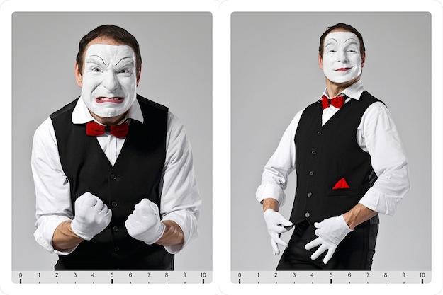 Gefühlskarten - dargestellt vom Pantomimen Pomorin