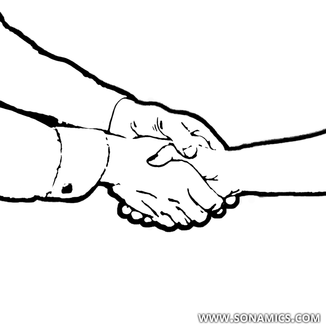 Körpersprache 48 doppelte Handschlag