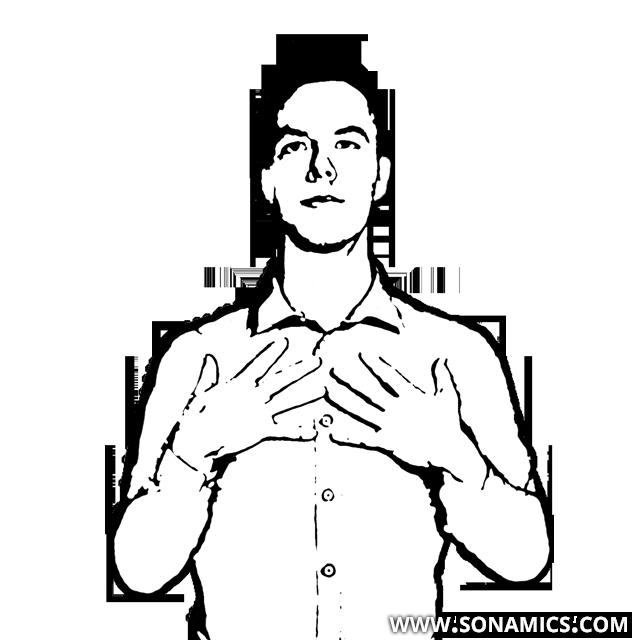 Körpersprache 43 Brust berühren