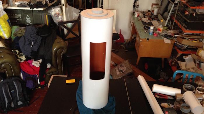Dokumentation Bau grosse Batterie weisse Folie beklebt