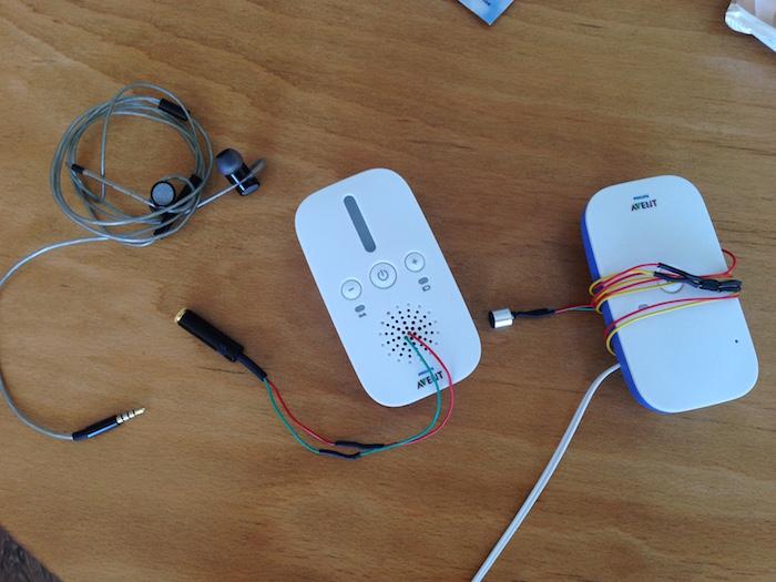 gehacktes Babyphone als Mirkofon mit kopfhörer anschluss